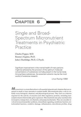 Single and Broad-Spectrum Micronutrient Treatments in Psychiatric Practice